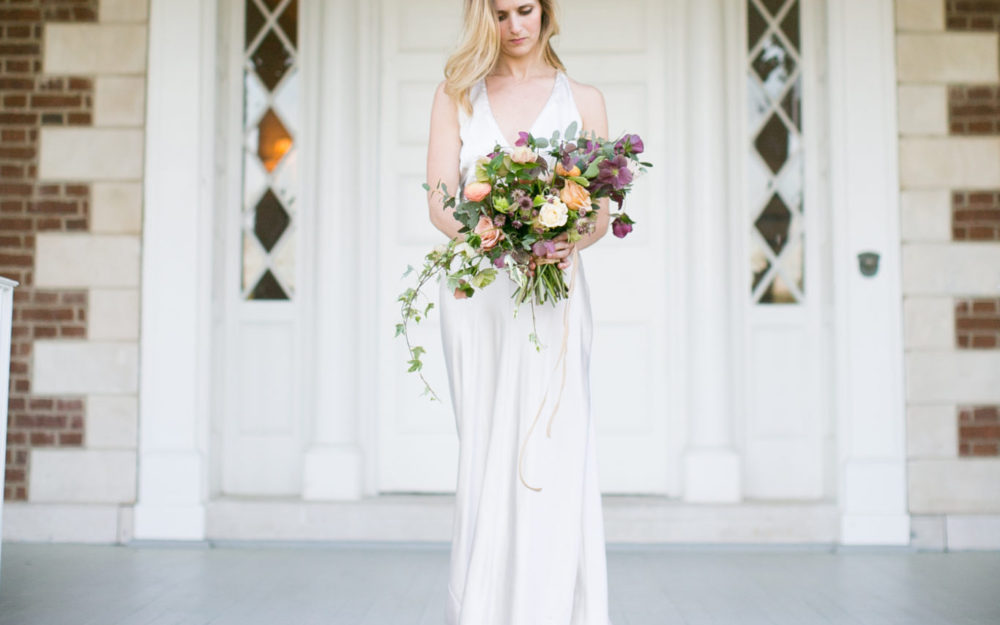 lush bouquet created by nashville wedding florist Olive & birch held by McConnell House Bride