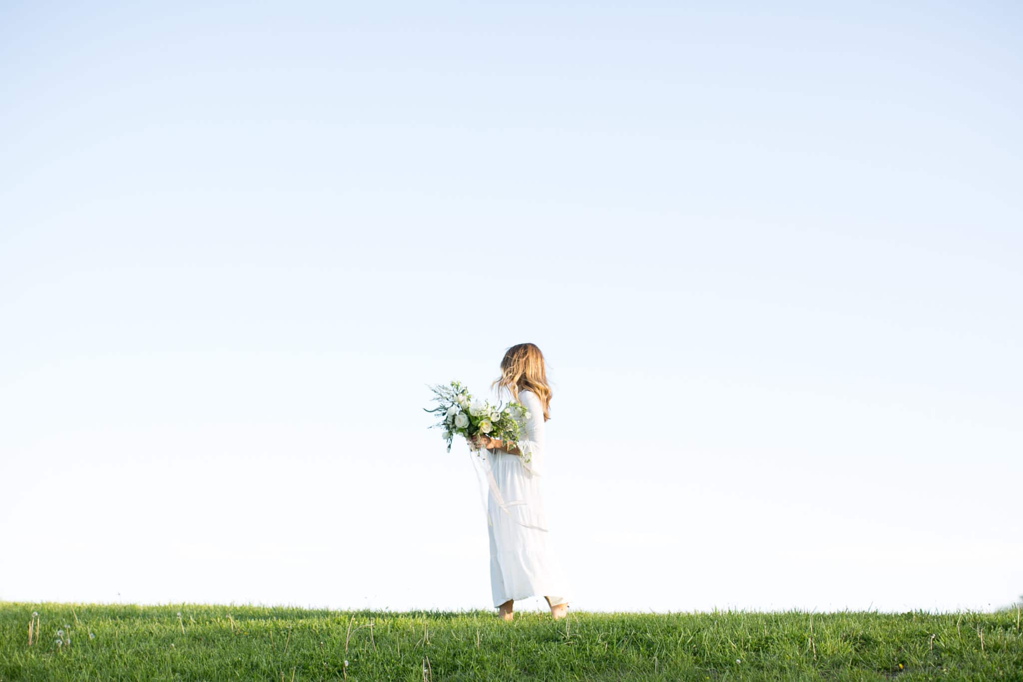 gorgeous bridal landscape with white bouquet by Olive & Birch